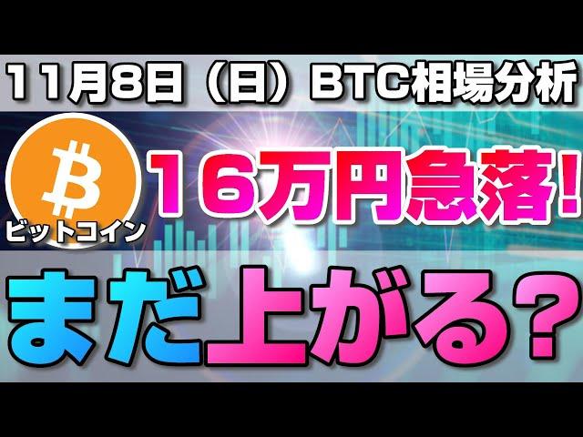 #ビットコイン #BTC 【仮想通貨】ビットコイン爆上げからの16万円の急落!今後まだ上がる?現在のBTCの全体相場と今後重要なポイントについて。BTC/USD【11月8日(日)】